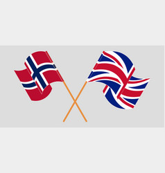 Crossed and waving flags norway and uk vector