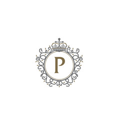 Crown leaf logo initial p vector