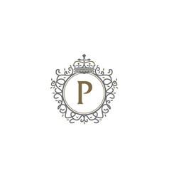 crown leaf logo initial p vector image