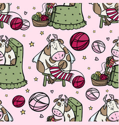 Cute cow knits a new year scarf hygge seamless vector