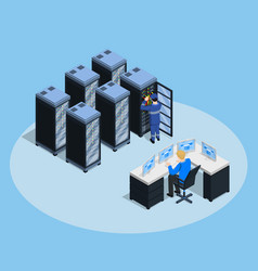 data center isometric composition vector image