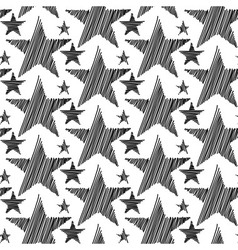 Doodle Hand Drawn Stars Seamless Pattern vector image