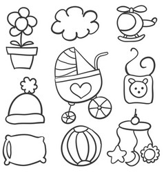 Doodle of baby object collection stock vector