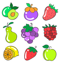 Doodle of fruit various style collection vector