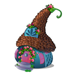 fairy house with a robrown tiles and vector image