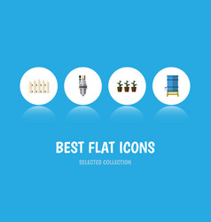 Flat icon garden set of container flowerpot pump vector