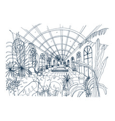 Freehand drawing of interior of greenhouse full of vector