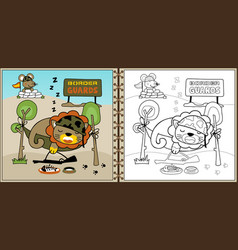 funny animals soldiers cartoon coloring book or vector image