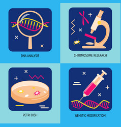 Genetic analysis and research icons in flat style vector