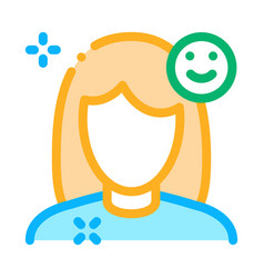 girl shine clean face icon outline vector image