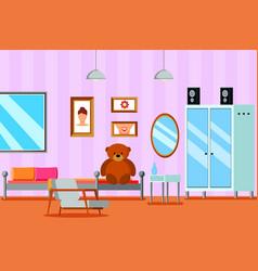 girl teen room flat composition vector image