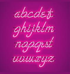 Glowing purple neon lowercase script font vector