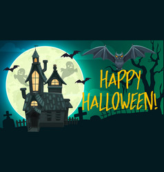 Halloween ghosts bats haunted house gravestone vector