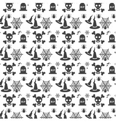 halloween seamless pattern with different vector image