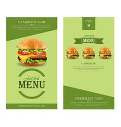 hamburger retro menu detailed template lay vector image