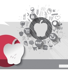 Hand drawn apple icons with food icons background vector