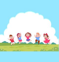 Happy cartoon children preschool playing kids vector