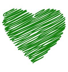 heart green hand drawn sketch vector image