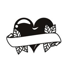 Heart love with ribbon tattoo art icon vector