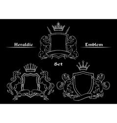 Heraldic logo signs set vector