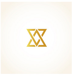 isolated abstract golden color triangles contour vector image