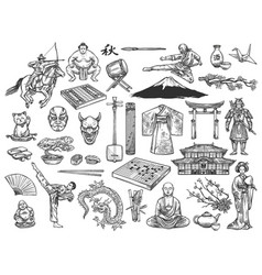 Japan culture symbols history tradition sketch vector