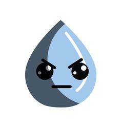 Kawaii nice angry drop water vector