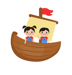 kids playing on ship vector image