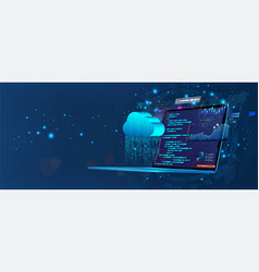 laptop with programming code on screen vector image
