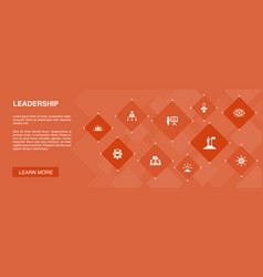 Leadership banner 10 icons conceptresponsibility vector