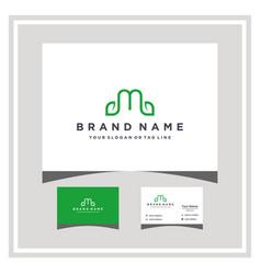 Letter m leaf logo design and business card vector