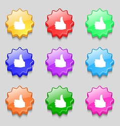 Like Thumb up icon sign symbol on nine wavy vector image