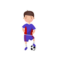 Little boy playing soccer kids physical activity vector
