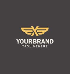 luxury golden wing logo design concept initial vector image