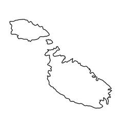 malta map of black contour curves of vector image