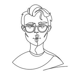 man in eyeglasses posing kiss portrait one line vector image