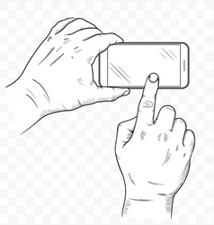 mobile phone in hands front view sketch hand vector image