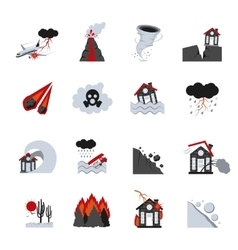 Natural Disasters Icons Set vector image