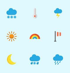 Nature flat icons set collection of moon sun vector