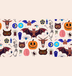Occultism set seamless pattern with magic vector