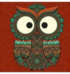 Ornamental owl on patterned background vector