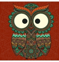 Ornamental owl on the patterned background vector