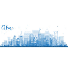 outline el paso skyline with blue buildings vector image
