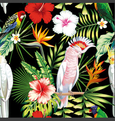 parrot tropical flowers and leaves seamless vector image