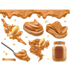 Peanut butter 3d realistic icon set vector