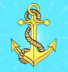 pop art background sea anchor imitation of vector image