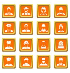 Professions icons set orange vector