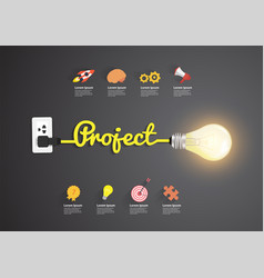 project concept with creative light bulb idea vector image
