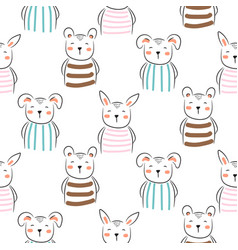 puppy bunny and bear cute seamless doodle pattern vector image