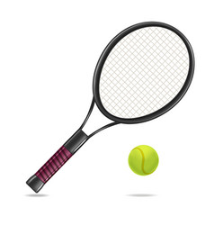 realistic detailed tennis racket and ball vector image